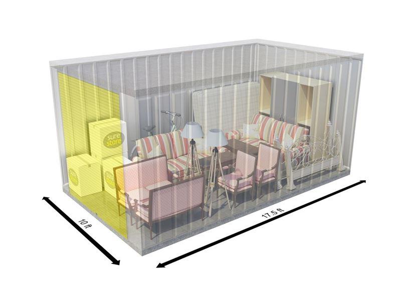 Wigan Storage Units - 175 square foot self storage unit interior from SureStore